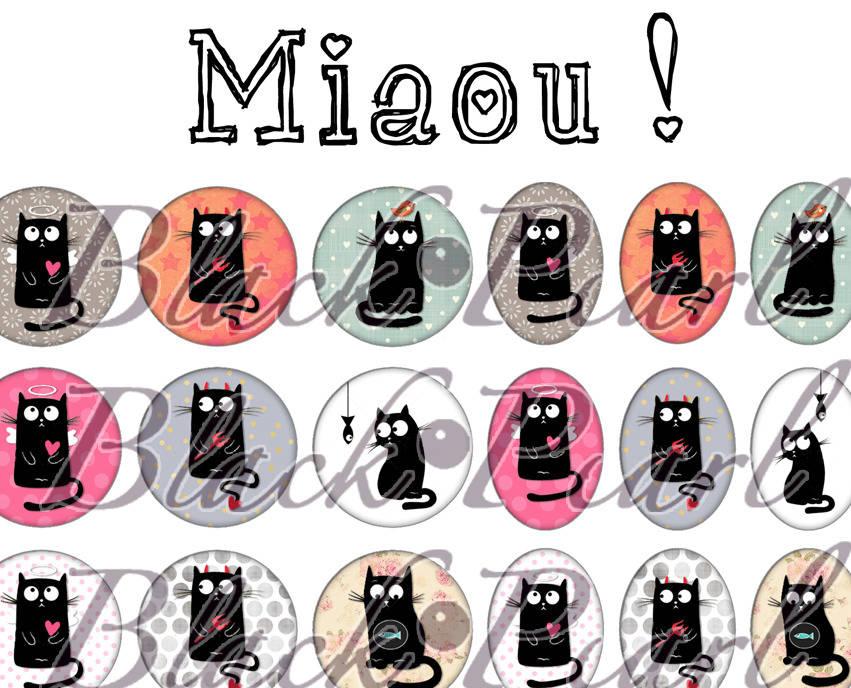 ° Miaou ! ° - Page de collage digital cabochons - 60 images numériques à imprimer