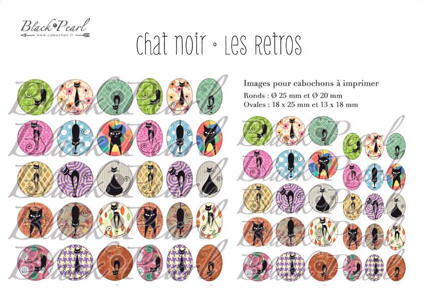 ° Chat Noir • Les Retros lV ° - Page digitale pour cabochons - 60 images à imprimer
