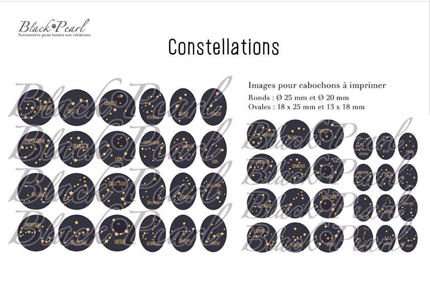 ° Constellations ll ° - Page de collage paon digital pour cabochons - 48 images à imprimer