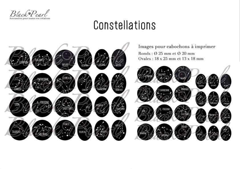 ° Constellations ° - Page de collage paon digital pour cabochons - 48 images à imprimer