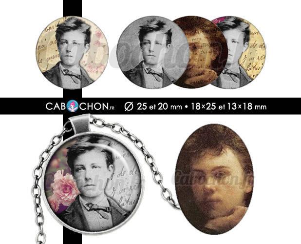 Arthur Rimbaud ☆ 60 Images Digitales RONDES 25 et 20 mm OVALES 18x25 et 13x18 mm paris romantique poeme poete baudelaire verlaine cabochons