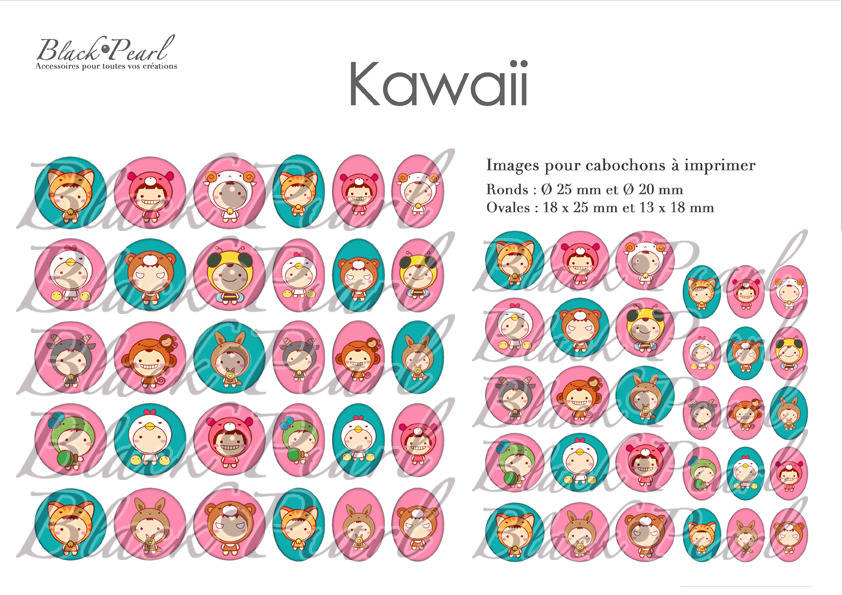 ° Kawaii ° - Planche numérique digitale à imprimer - 60 images à imprimer