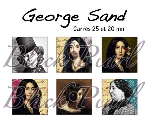 ° George Sand ° - Page digitale pour cabochons à imprimer - 30 images