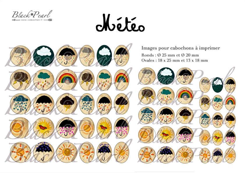 ° Météo ° - Page de collage cabochons - 60 images à imprimer