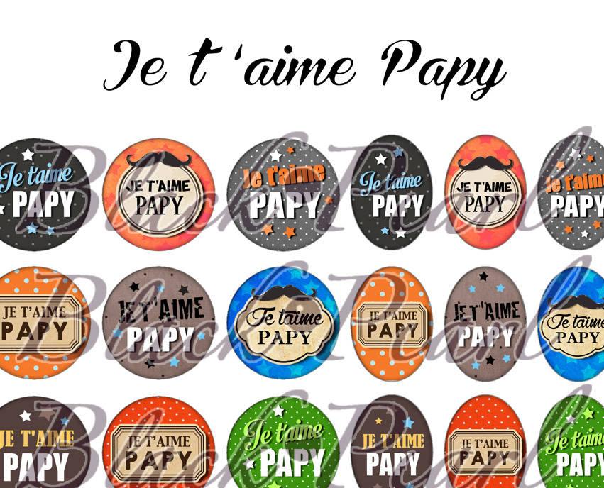 ° Je t'aime Papy °  - Page de collage digital cabochons - 60 images à imprimer