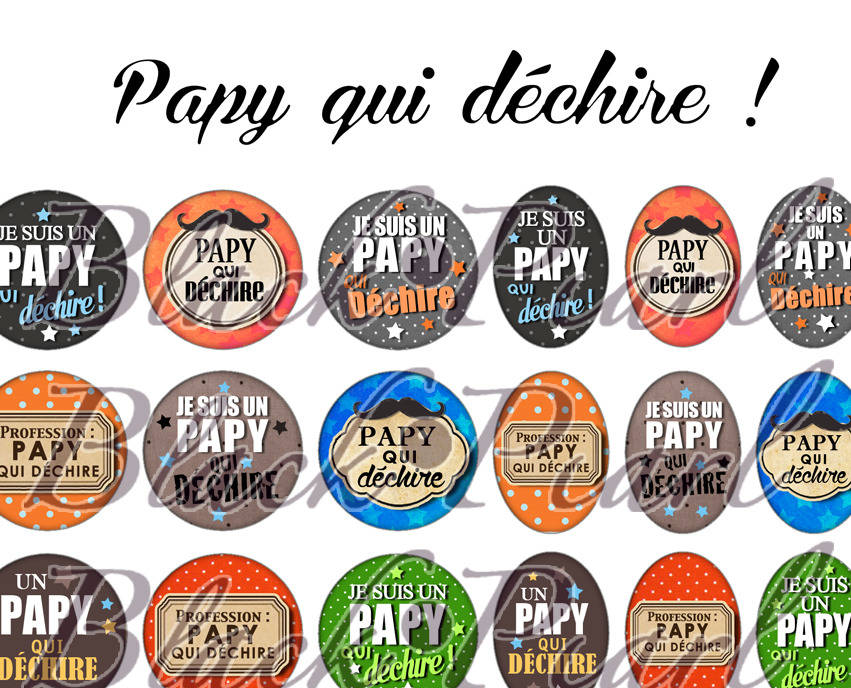 ° Papy qui déchire ° - Page de collage digital cabochons - 60 images à imprimer