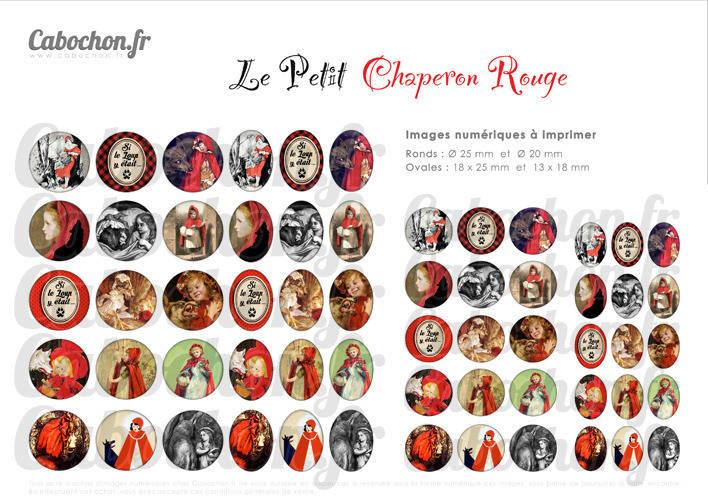 Le Petit Chaperon Rouge ☆ 60 Images Digitales RONDES 25 et 20 mm et OVALES 18x25 et 13x18 mm loup conte histoire fillette Page cabochon