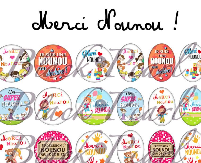 ° Merci Nounou ! ll ° - Page de collage digital cabochons - 60 images à imprimer