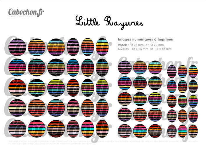 ° Little Rayures ° - Page de collage digital pour cabochons - 60 images à imprimer