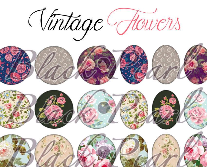 ° Vintage Flowers ° - Page digitale pour cabochons - 60 images à imprimer