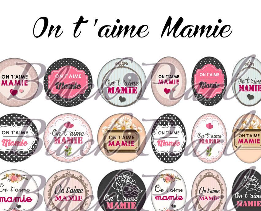 ° On t'aime Mamie °  - Page digitale pour cabochons - 60 images à imprimer