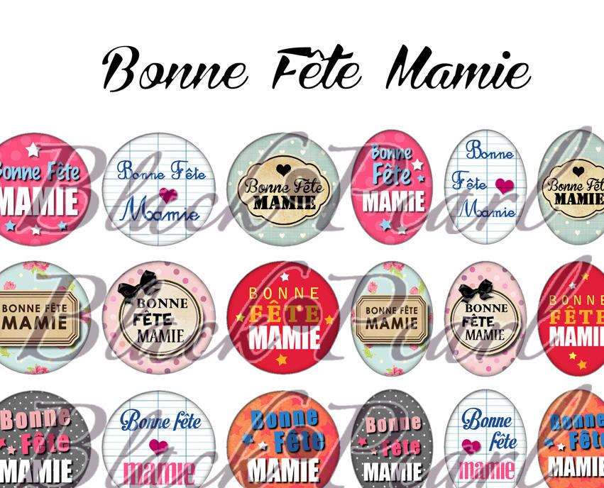 ° Bonne Fête Mamie °  - Page digitale pour cabochons - 60 images à imprimer