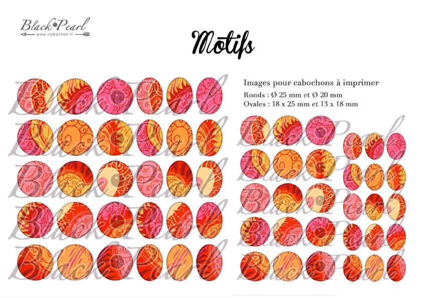 ° Motifs ° - Page de collage digital cabochons - 60 images à imprimer