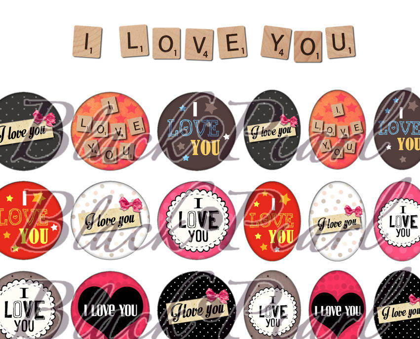 ° I love you ° - Page digitale pour cabochons - 60 images à imprimer