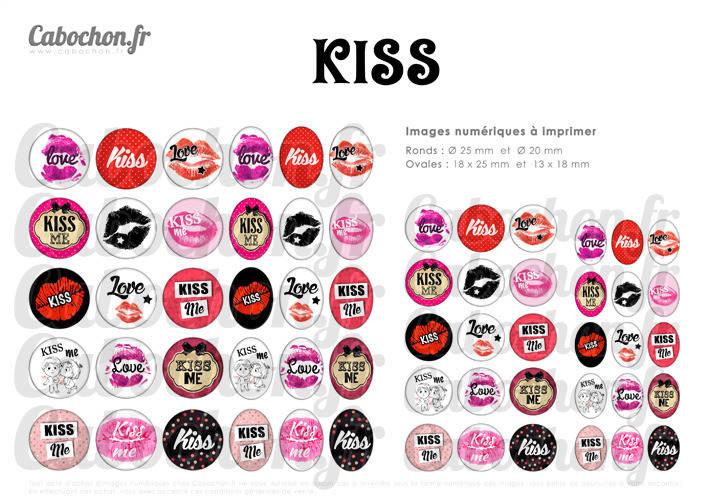 KISS ☆ 60 Images Digitales RONDES 25 et 20 mm et OVALES 18x25 et 13x18 mm bisou bisous levres rouge calin love amour Page