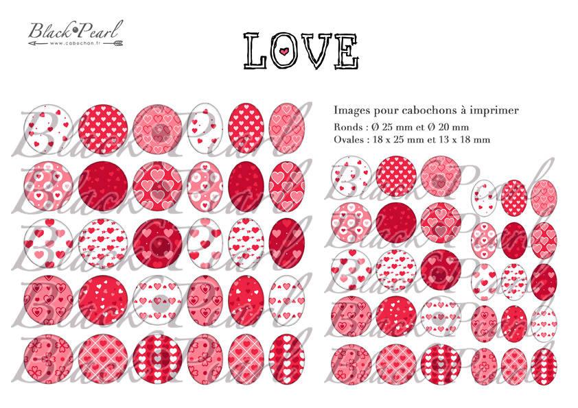 ° LOVE ll ° - Page digitale pour cabochons - 60 images à imprimer