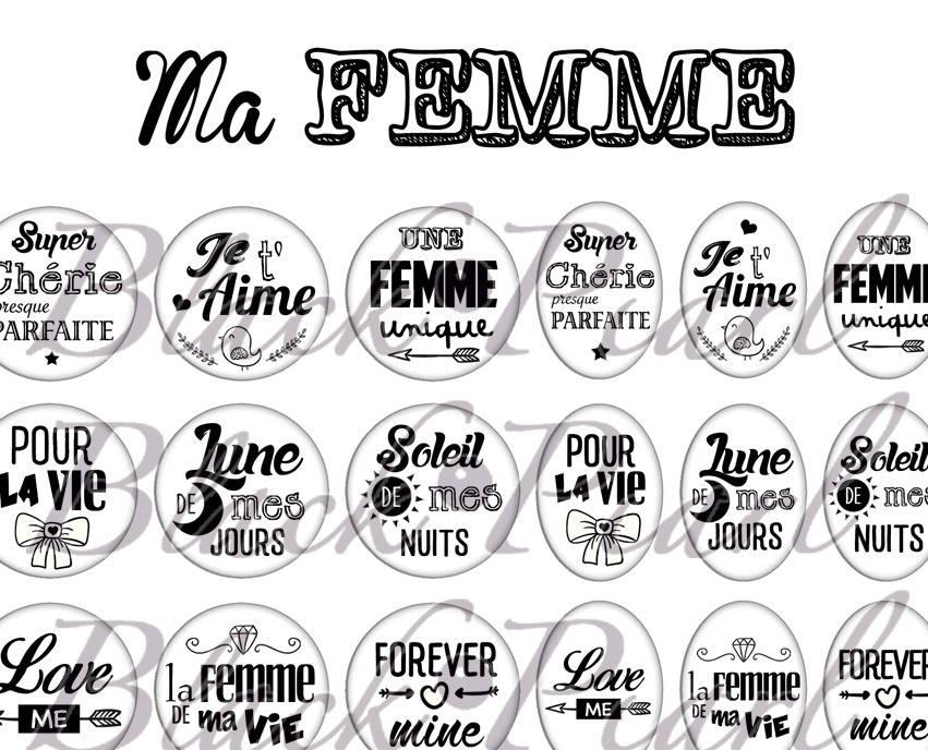 ° Ma Femme ° - Page de collage digital cabochons - 60 images à imprimer