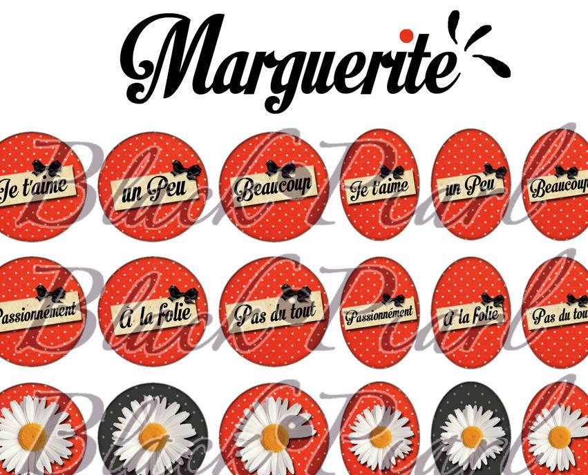 ° Marguerite ° - Page digitale pour cabochons - 60 images à imprimer