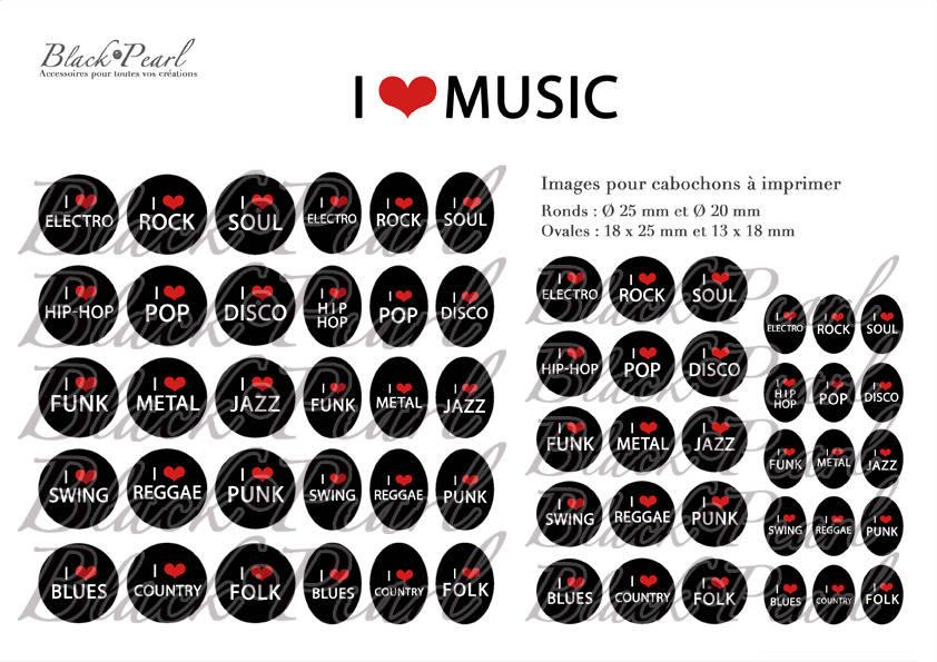 ° I LOVE MUSIC ° - Page digitale pour cabochons - 60 images à imprimer
