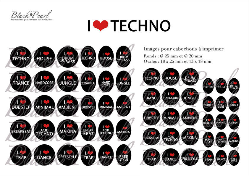 ° I LOVE TECHNO ° - Page digitale pour cabochons - 60 images à imprimer