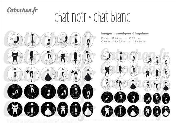 Chat noir Chat blanc ☆ 60 Images Digitales RONDES 25 et 20 mm OVALES 18x25 et 13x18 mm silhouette ombre page cabochon cabochons