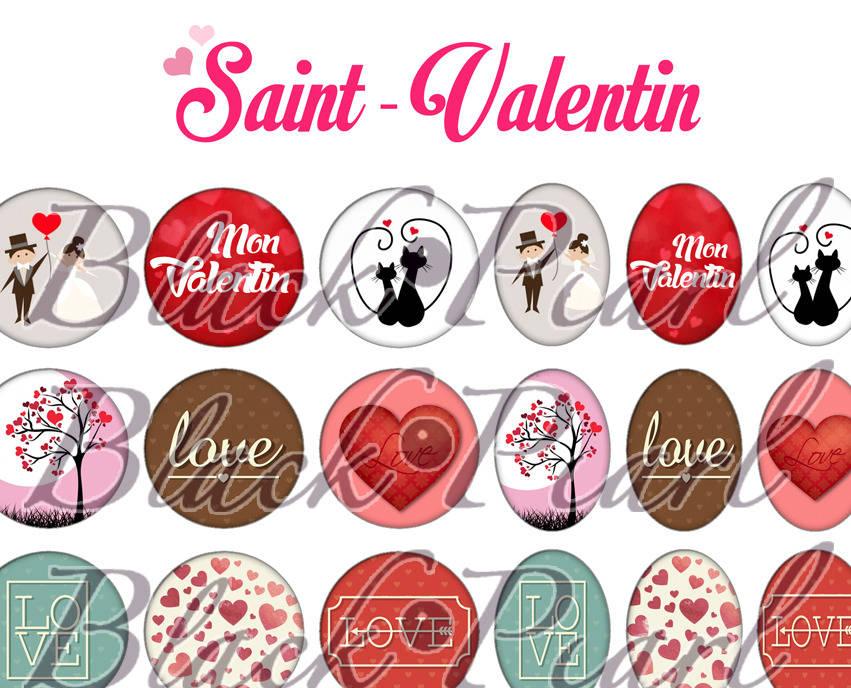 ° Saint-Valentin ll ° - Page digitale pour cabochons - 60 images à imprimer