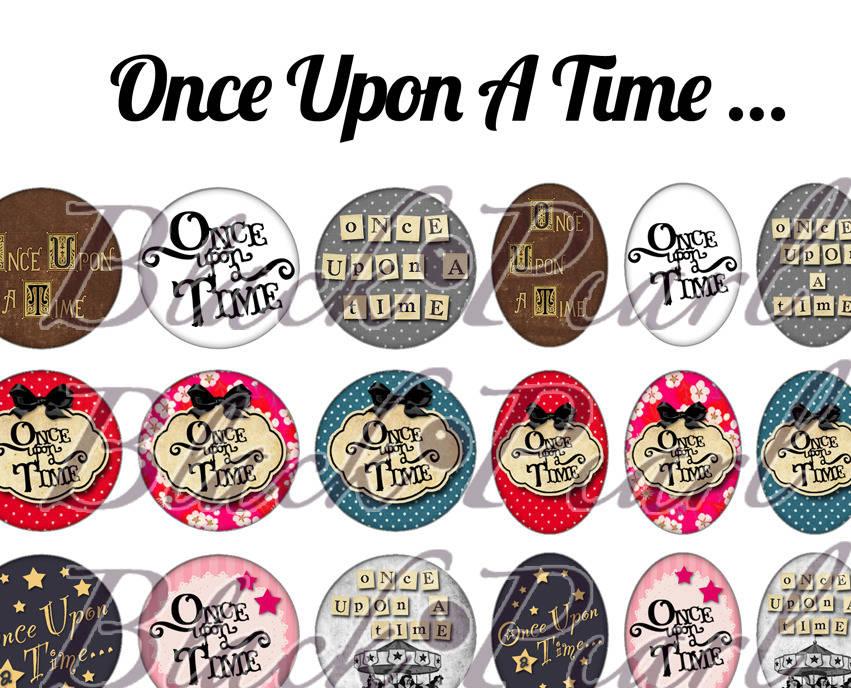 Once Upon A Time ... ☆ 60 Images Digitales / Numériques RONDES 25 et 20 mm et OVALES 18x25 et 13x18 mm Page d'images cabochons