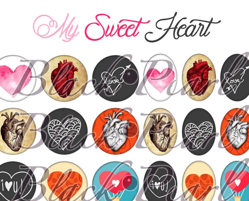 ° My Sweet Heart ° - Page digitale pour cabochons - 60 images à imprimer