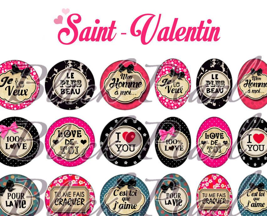° Saint-Valentin ° - Page digitale pour cabochons - 60 images à imprimer