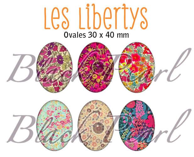 ° Les Libertys lll ° - Page digitale pour cabochons à imprimer - 15 images