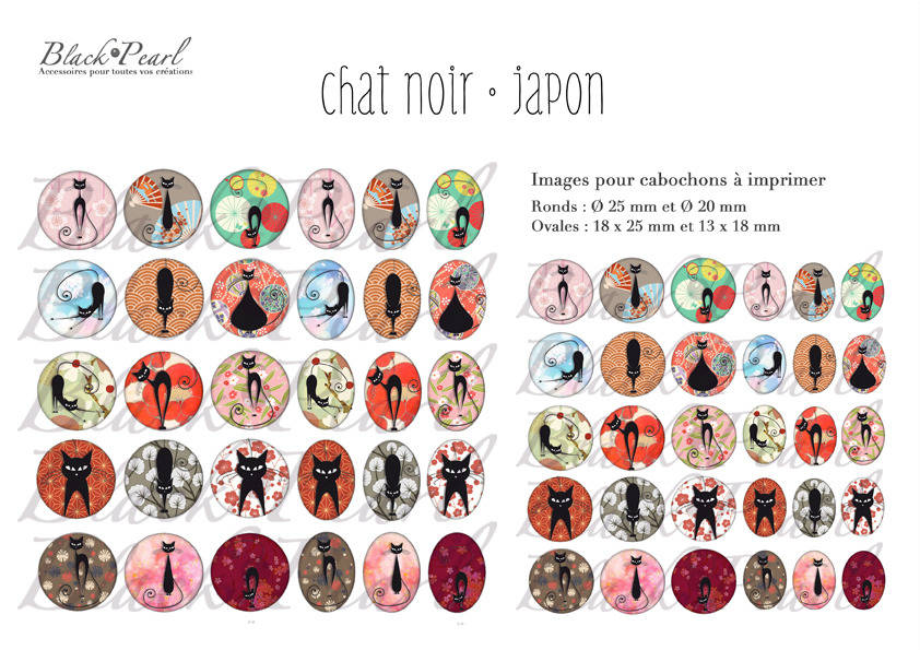 ° Chat Noir • Japon ° - Page de collage digital cabochons - 60 images à imprimer