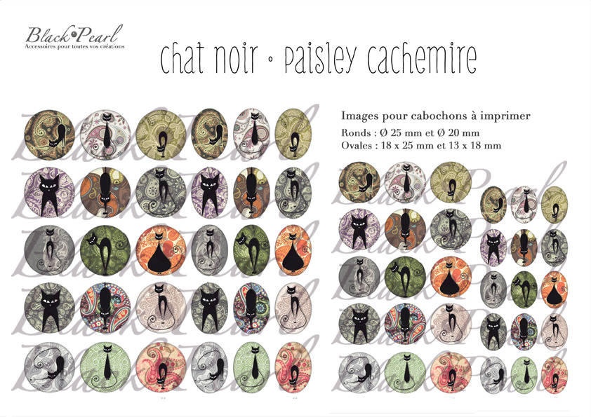 ° Chat Noir • Paisley Cachemire ° - Page digitale pour cabochons - 60 images à imprimer