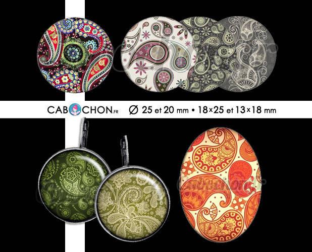 Paisley Cachemire ☆ 60 Images Digitales RONDES 25 et 20 mm OVALES 18x25 et 13x18 mm motif motifs indien bandana page cabochon cabochons