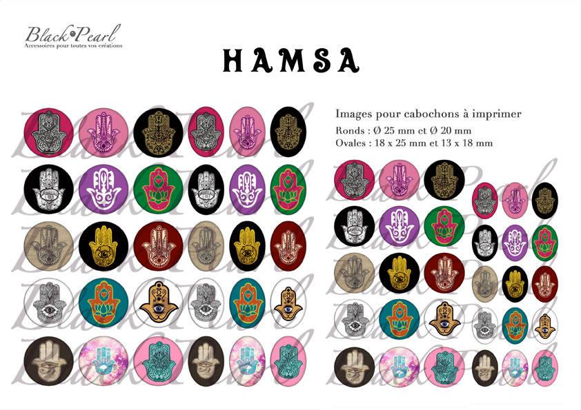 ° Hamsa ° - Page digitale pour cabochons - 60 images à imprimer