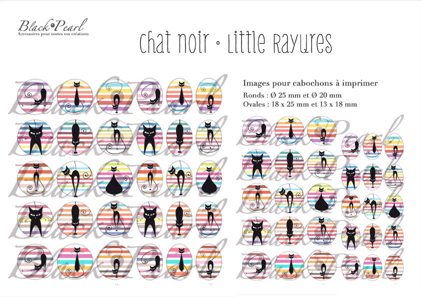 ° Chat Noir • Little Rayures ll ° - Page de collage digital pour cabochons - 60 images à imprimer