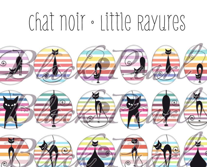 ° Chat Noir • Little Rayures ll ° - Page de collage digital pour cabochons - 60 images à imprimer