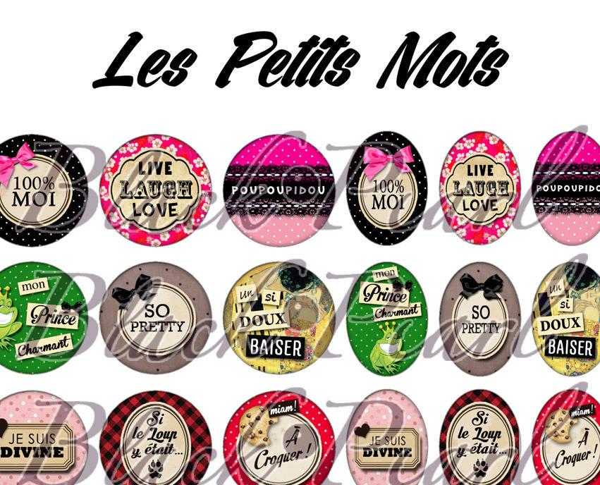 ° Les Petits Mots lll ° - Page de collage digital cabochons - 60 images à imprimer