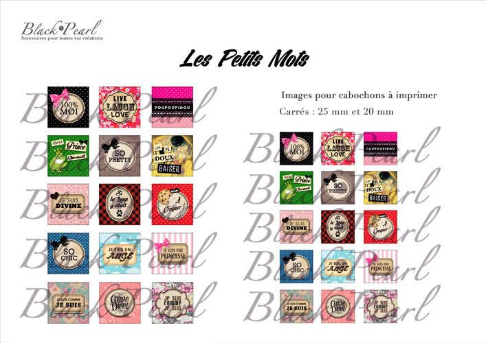 ° Les Petits Mots lll ° - Page de collage cabochons - 30 images
