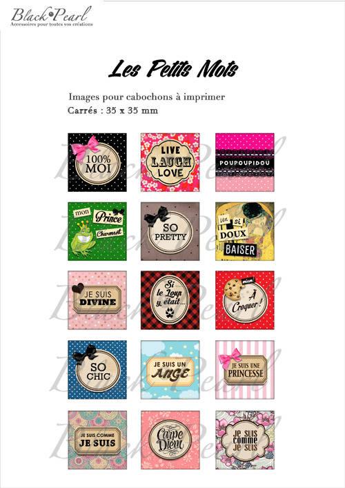 ° Les Petits Mots lll ° - Page de collage cabochons - 15 images