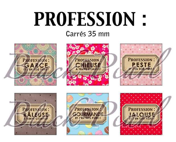 ° Profession ° - Page de collage cabochons - 15 images à imprimer