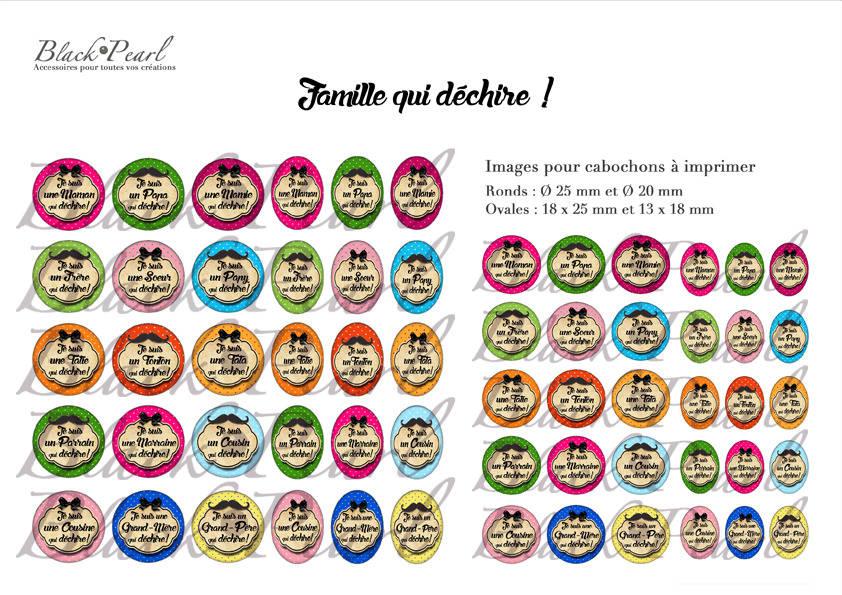 ° Famille qui déchire ! ° - Page digitale pour cabochons - 60 images à imprimer