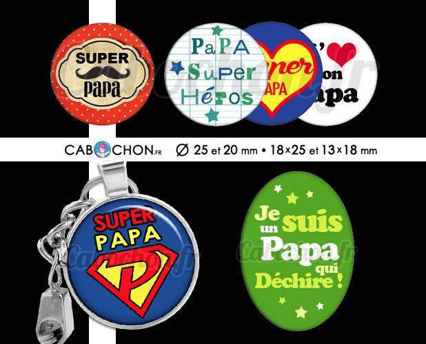 Pour toi Papa ☆ 60 Images Digitales RONDES 25 et 20 mm OVALES 18x25 et 13x18 mm super pere fete dechire page cabochons