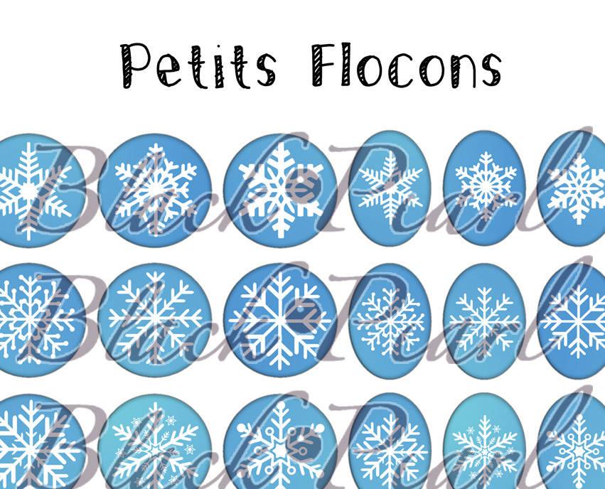 ° Petits Flocons ° - Page de collage digital cabochons - 60 images à imprimer