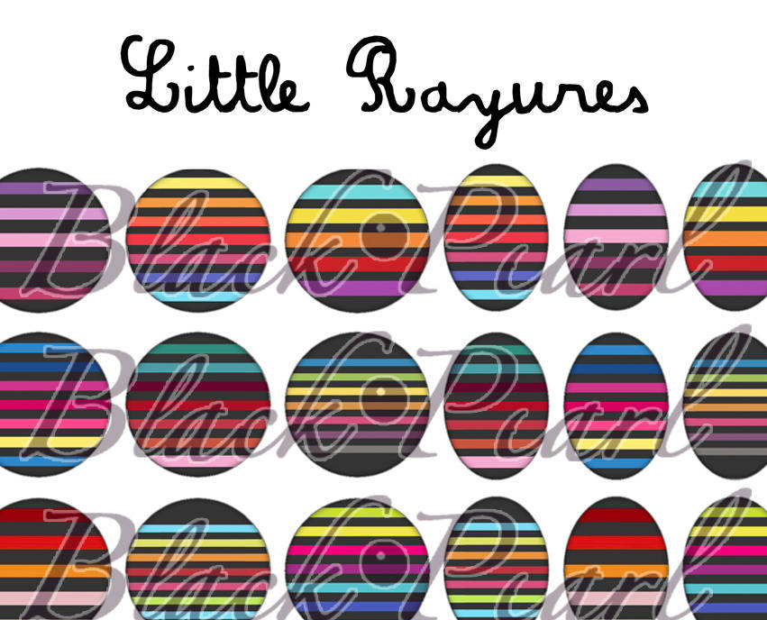 ° Little Rayures lll ° - Page de collage digital pour cabochons - 60 images à imprimer