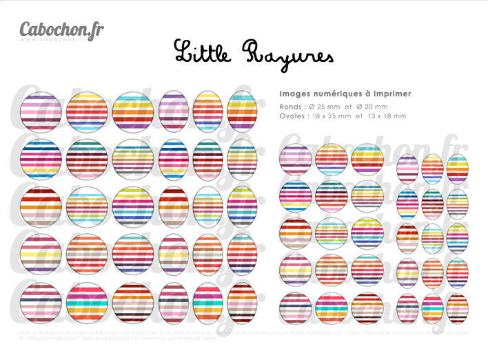 Little Rayures ll ☆ 60 Images Digitales RONDES 25 et 20 mm OVALES 18x25 et 13x18 mm rayure marcel rikyel Page cabochon bijoux