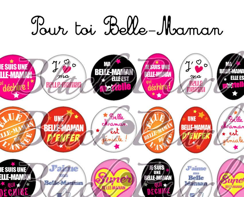 ° Pour toi Belle-Maman ° - Page de collage digital cabochons - 60 images à imprimer