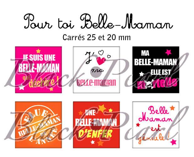 ° Pour Toi Belle-Maman ° - Page de collage cabochons - 30 images à imprimer