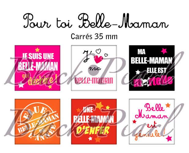 ° Pour Toi Belle-Maman ° - Page de collage cabochons - 15 images à imprimer