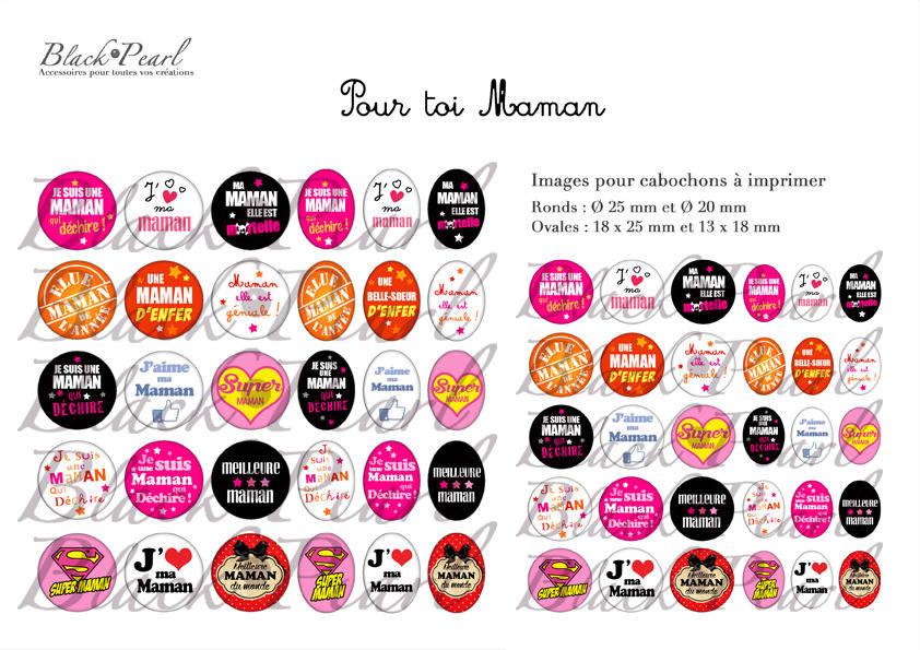 ° Pour toi Maman ° - Page de collage digital cabochons - 60 images à imprimer