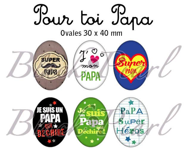° Pour toi Papa ° - Page digitale pour cabochons à imprimer - 15 images